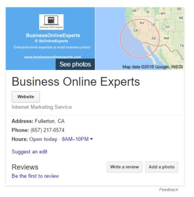 business online experts Google My Business example